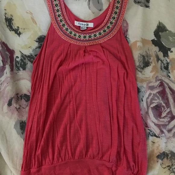 Forever 21 Tops - forever 21 coral embroidered tank